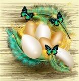 Påskhälsningskortet med bygga bo mycket av ägg och färgrika ferns Arkivbilder