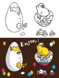 Påskhönor i ägg Arkivbild