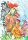 Påskillustration med en tupp, en höna och ett ägg Teckningscra Royaltyfria Bilder