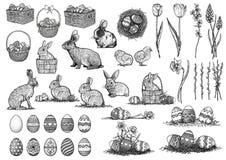 Påskillustrationen, teckningen, gravyr, ställde in samlingen Vektor Illustrationer