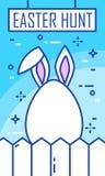 Påskjaktbaner med det kaninöron, ägget och staketet på blå bakgrund Tunn linje lägenhetdesign randig vektor för bakgrundskortprel Royaltyfria Bilder