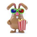 påskkanin för choklad 3d med popcorn Royaltyfria Bilder