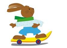 Påskkanin med skateboarden Royaltyfri Foto