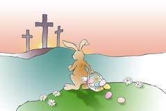 Påskkaninen konfronterar Christian Cross av Jesus Royaltyfri Foto
