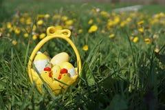 Påskkorg med ägg i gräs arkivfoto