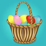 Påskkorg med ägg lyckliga easter Royaltyfri Fotografi