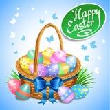 Påskkorg med färg målade easter ägg Guld- ägg över grön lutningbakgrund vektor illustrationer