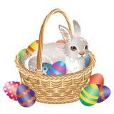 Påskkorg med kaninen och ägg stock illustrationer