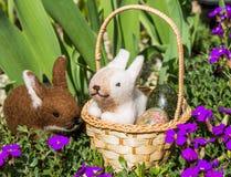Påskkorg med kaniner Fotografering för Bildbyråer