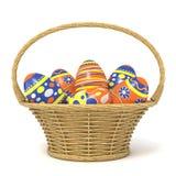 Påskkorg mycket av dekorerade ägg 3d Royaltyfria Foton