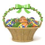Påskkorg mycket av dekorerade ägg med den gröna bandpilbågen 3d Arkivfoton