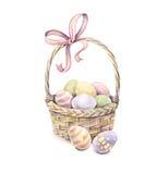 Påskkorg som isoleras på en vit bakgrund color easter ägg grupper som tecknar spolning för vattenfärg för blomningflodtrees handw Royaltyfri Foto