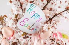 Påskkort med blommor för körsbärsröd blomning Arkivbild