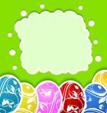 Påskkort med fastställda färgrika utsmyckade ägg Fotografering för Bildbyråer