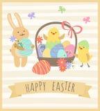Påskkort med kanin, roliga hönor och korgen med ägg Arkivfoton