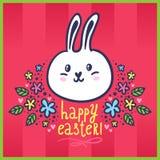 Påskkort med kaninen och blommor Royaltyfri Foto