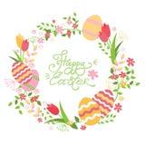 Påskkrans med blommor och ägg Hand som märker det lyckliga påskkortet stock illustrationer