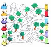 Påsklabyrintlek eller aktivitetssida för ungar: Kaniner och ägg Fotografering för Bildbyråer