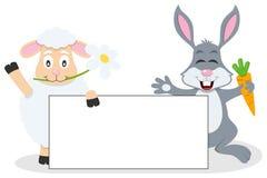 Påsklamm & kanin med det tomma banret Arkivbilder