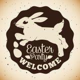 Påskpartistämpel med kaninen och Paschal Eggs Silhouette, vektorillustration Arkivfoto