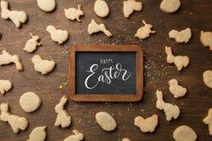 Påskpepparkakakakor Ägg och kaniner Top beskådar arkivbilder