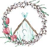 Påskpilkrans med tulpan och fågeln som sitter på dess hus för flygillustration för näbb dekorativ bild dess paper stycksvalavatte stock illustrationer
