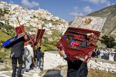 Påskprocession i Olympos, Karpathos ö royaltyfria foton