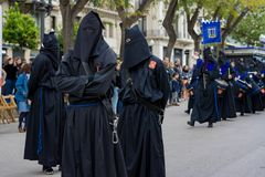 Påskprocession i Tarragona, Spanien Arkivbilder