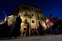 Påskprocession i Tarragona, Spanien Arkivfoton
