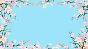Påskram från vårfilialer av blomningen Sakura With Pink Cherry Flowers på genomskinlig bakgrund för att hälsa eller att gifta sig stock illustrationer
