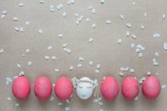 Påsksammansättning med målade ägg Royaltyfri Fotografi