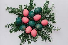 Påsksammansättning med målade ägg Royaltyfria Bilder