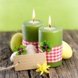 Påskstearinljus, etikett Royaltyfria Bilder