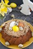 Påskstilleben, påskkaka med färgade ägg i ett rede, daffodi arkivfoto