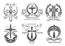 Påsksymbolkors för påsk- hälsning för vektor royaltyfri illustrationer