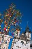 Påskträd i Prague. Arkivbild