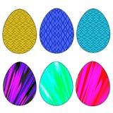 Påskuppsättningen av sex färgade ägg av olika färger på en vit bakgrund vektor