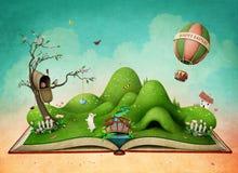Påskvårlandskap på boken royaltyfri illustrationer