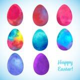 Påskvattenfärgbakgrund med ägg Fotografering för Bildbyråer