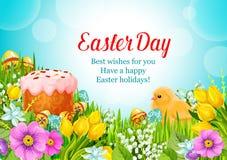Påskvektor som hälsar den påsk- kakan, ägg, blommor royaltyfri illustrationer