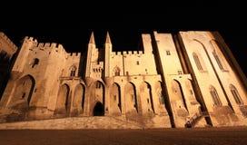 Påvars slott på natten Fotografering för Bildbyråer