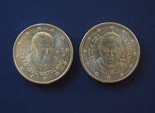 Påve Benedict XVI och Francis I 50 centmynt Royaltyfri Fotografi
