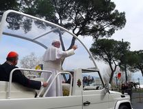 Påve Francis i Naples Royaltyfria Foton