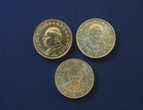 Påve John Paul II, Benedict XVI och Francis I 50 centmynt Fotografering för Bildbyråer