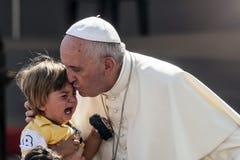 Påven Francesco besöker jag Torino Arkivbilder
