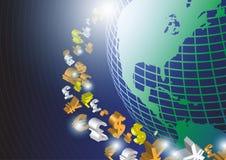Påverkan av pengar runt om världen Fotografering för Bildbyråer