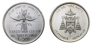 Påvligt vakant ser 1978 det uncircoled september silvermyntet Arkivbild