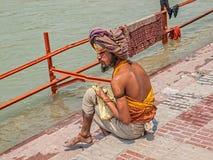 Pèlerin dans Haridwar Photographie stock