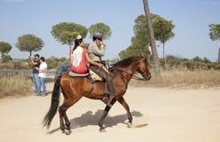 Pèlerins à cheval en EL Rocio, Espagne Image stock