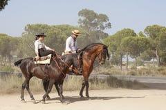 Pèlerins à cheval en EL Rocio, Espagne Photos stock